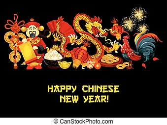 Chinese Lunar New Year holidays poster design - Chinese New...