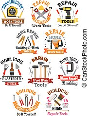 Work tools emblems set for repair, construction - Repair,...