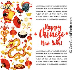 Chinese Lunar New Year symbols poster design - Chinese Lunar...