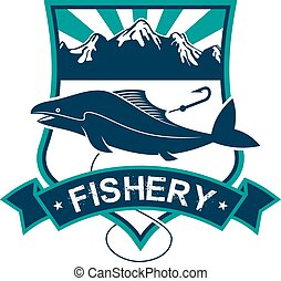 Fishery vector isolated badge icon or emblem - Fishery...