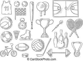 Sport balls, items sketch isolated icons