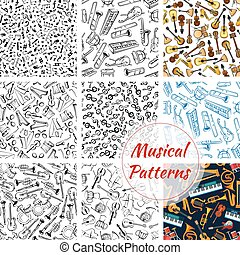 Patterns of musical instruments and music notes - Musical...