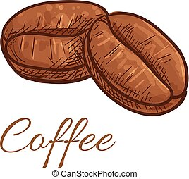Coffee beans isolated sketch icon. Vector color elements of...