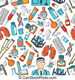 Medicine tools and teatment seamless pattern