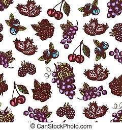 Berries and fruits sketch seamless pattern