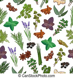 Herbs and spices seamless pattern. Vector patterns of mint,...