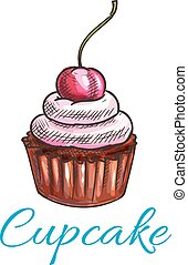 Chocolate tart cupcake icon. Vector dessert cake emblem with...