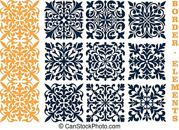 Ornamental floral pattern border elements
