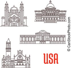 USA architecture landmarks icons - USA american architecture...