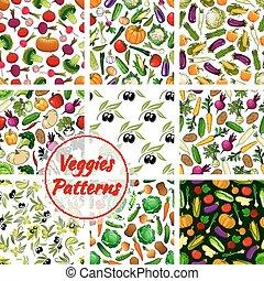Veggies vegetables seamless patterns set - Veggies patterns....