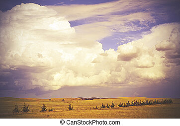 Cloudscape over countryside
