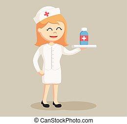 nurse with medicine illustration design