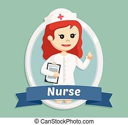 nurse in emblem illustration design