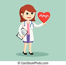 woman doctor with heartbeat