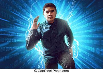 Man running inside virtual world