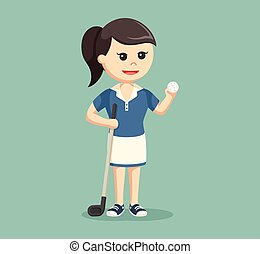 golfer woman with golf stick and ball