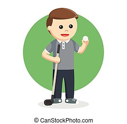 golfer man with golf stick and ball