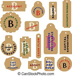 Set of labels for cryptocurrency - Bitcoin - A set of labels...