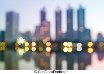 Abstract circular bokeh, night cityscape blurred for...