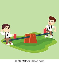boy students playing seesaw together