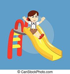 girl student playing slide