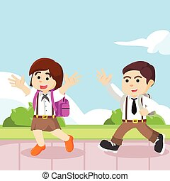 boy and girl student going to school