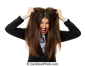 Very angry businesswoman pulling her hair - Frustrated,...