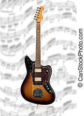 Electric guitar on sheet music blurry - Beautiful red-black...