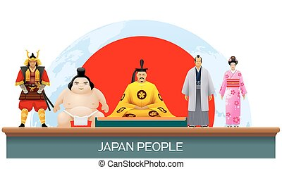 japan people set of vector illustration infographic