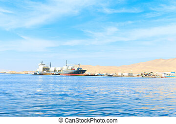 PARACAS, PERU, Fishing boat in Islas Ballestas region