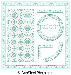 Vintage Border Pattern of Round Cross Flwoer