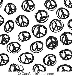 pattern with hand drawn hippie peace symbol, vector background