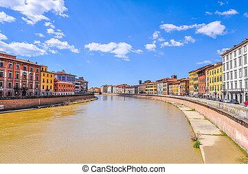 HDR Arno river bank in Pisa - High dynamic range (HDR)...