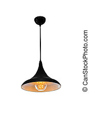 Black hanging lamp isolated. - Black hanging lamp isolated...