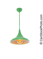 Green hanging lamp isolated. - Green hanging lamp isolated...