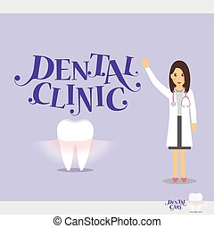 Cartoon Dentist with Healthy Clean Teeth. Vector...
