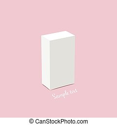 Blank white box mock up. Vector illustration.