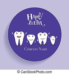 Dental Cartoon. Happy and Healthy Teeth. Vector...