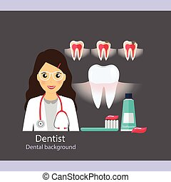 Medical dental background. Dentist with teeth. Vector...