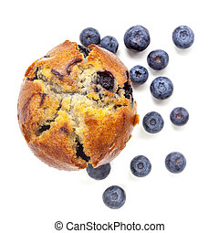 Blueberry Muffin Isolated on White Top View - Blueberry...