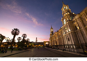 Main square of Arequipa with church