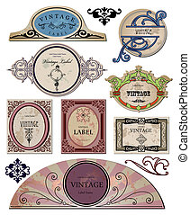 Set vintage bright labels for your design. Vector - Set...