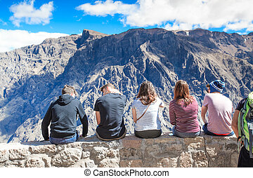 AREQUIPA, PERU - JULY 15 tourists watching condors in the...