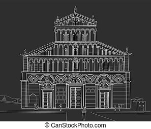 Sketch of Pisa Cathedral - Drawing Cathedral of Santa Maria...