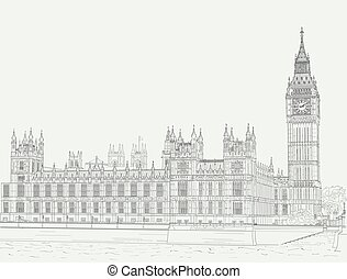 Sketch the palace of Westminster - Ink drawing of the Palace...
