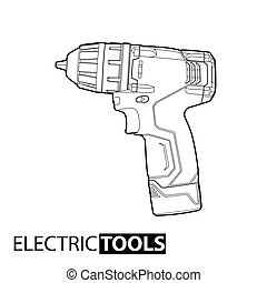 Cordless drill - Outline Cordless drill on white background