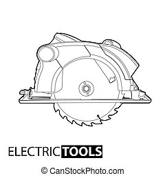 circular saw - Outline circular saw on white background