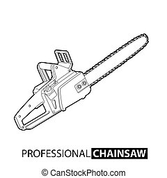 Outline chainsaw on white background