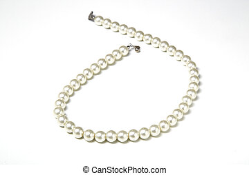 Pearl necklace - pearl necklace isolated on white, white...