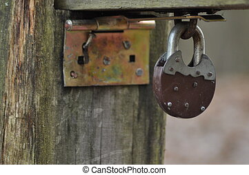 Old closed padlock. Banned.
